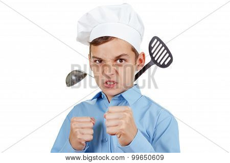 Serious Young Man In Front Of The Competition For Cooking. Isolated Studio
