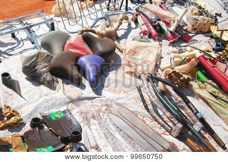 Objects On Display Along A Street In The Village Pomerini, Tanzania, Africa