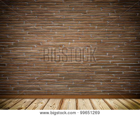 Brickswall And Wooden Floor Background.
