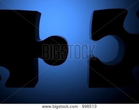 Blue Unassembled Puzzle Pieces