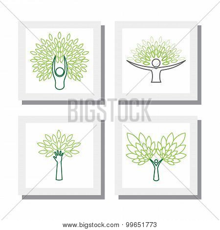 Set Of Logo Designs Of People And Trees - Vector Icons