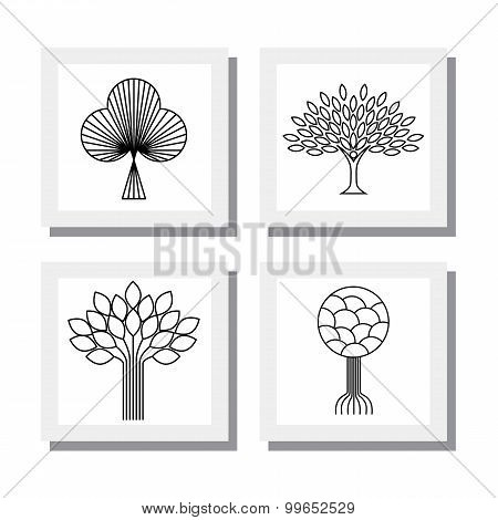 Abstract Organic Tree Line Icons Logo Vectors - Eco & Bio Design Element Badges.