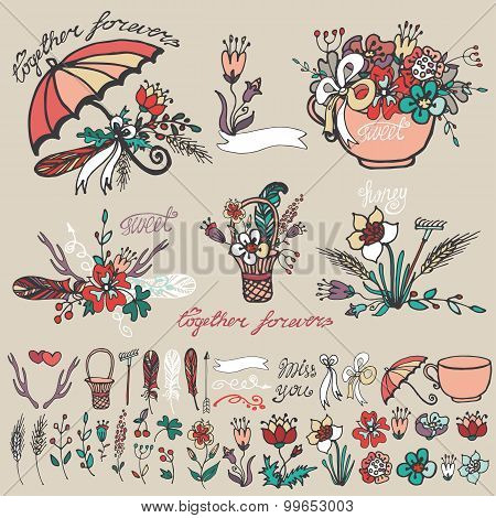 Doodle floral group,hand sketched element decor kit
