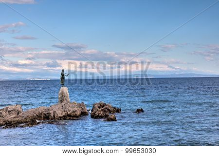 Croatia: Bronze Sculpture/Statue of Maiden with Seagull on Background a Sea in Opatija