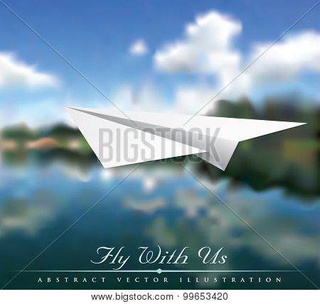 vector illustration of the paper plane over river landscape