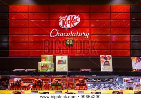 TOKYO, JAPAN - JULY 29, 2015: The Kit Kat Chocolatory in the Daimaru Department Store. The shop is known for offering unusual flavors virtually unknown outside Japan.