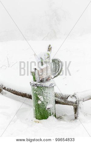 Garbage Bin In Winter And Snow Blizzard At The Feldberg In Hesse