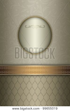 Silver Floral Background With Frame And Decorative Border.
