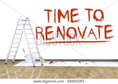 3d render of renovate a room with a ladder