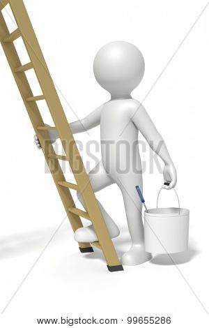An image of a man and a ladder doing redecoration