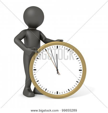 An image of a rendered black man pointing to a clock