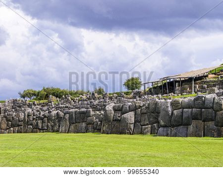 Sacsayhuaman, Incas Ruins In The Peruvian Andes At Cuzco