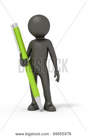 An image of a rendered black man with a ball pen