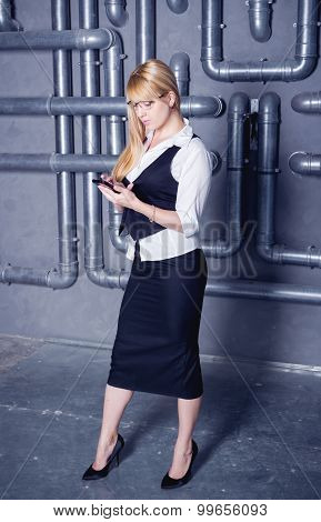 woman on industrial background
