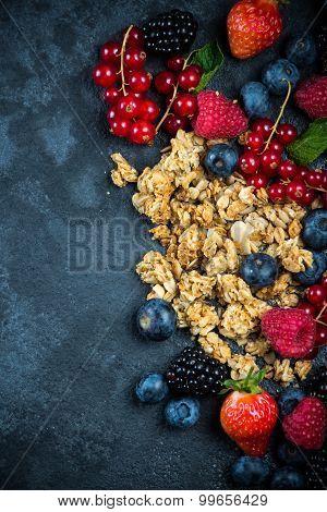 Muesli Granola Nad Fresh Ripe Berries, Breakfast Concept