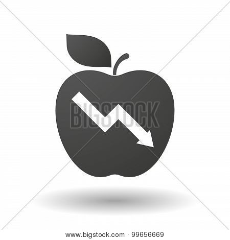 Apple Icon With A Descending Graph