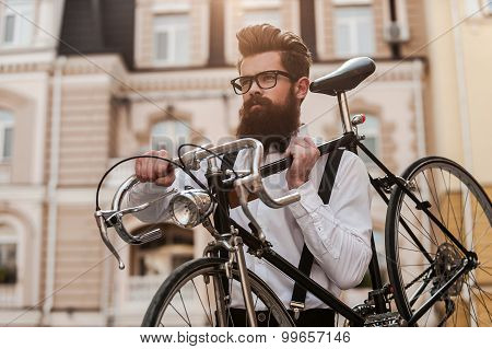Bearded Man With Retro Bicycle.