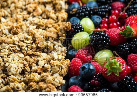 Crunchy Granola Nad Fresh Berries, Diet Concept
