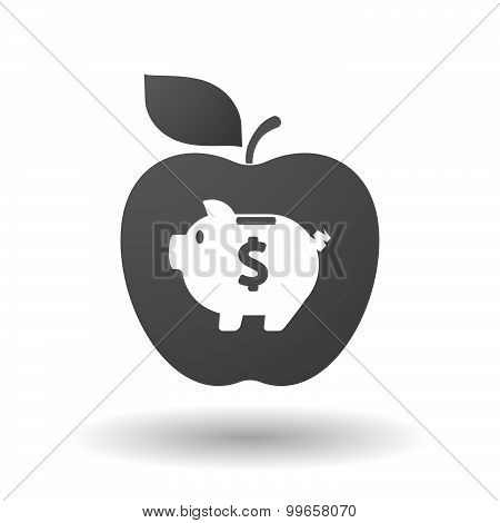 Apple Icon With A Piggy Bank