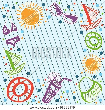 Vector Marine Card With Summer Beach Elements: Swimsuit, Sunglasses, Rubber Ring, Beach Bag, Shake