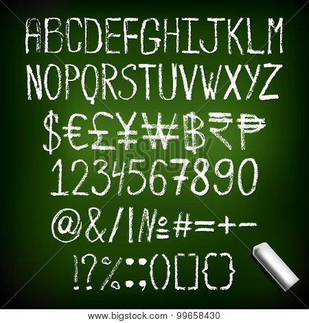 Vector Illustration Chalk Font With Numbers, Currency Signs. Hand Drawn English Chalk Alphabet.