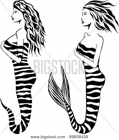 Set Of Graphic Tattoo Mermaid And Snake Girl. Stylish Black Mermaid Vector Isolated On White.
