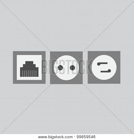 Flat Power Point, Telephone Socket, Socket