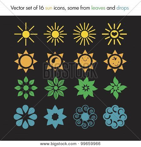 Vector Set Of 16 Sun Icons