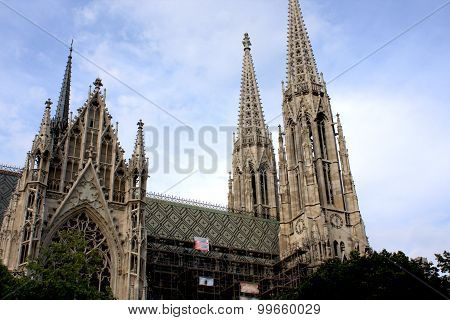 Reconstruction Of The Votive Church (votivkirche) Located On The Ringstraße In Vienna, Austria.