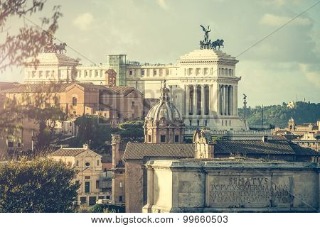 View of the Roman Forum in Rome in Italy