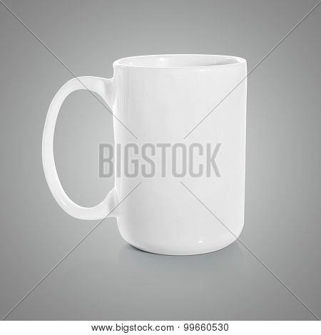 Cup white on gray background