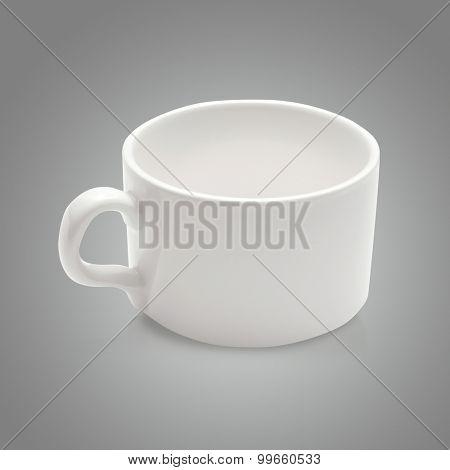 White  coffee mug on gray background