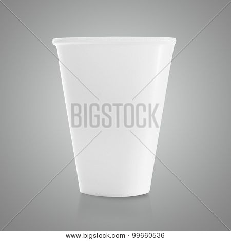 plastic cup on gray background