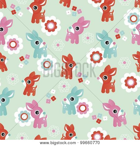 Seamless kids illustration baby deer flowers woodland mint background pattern in vector