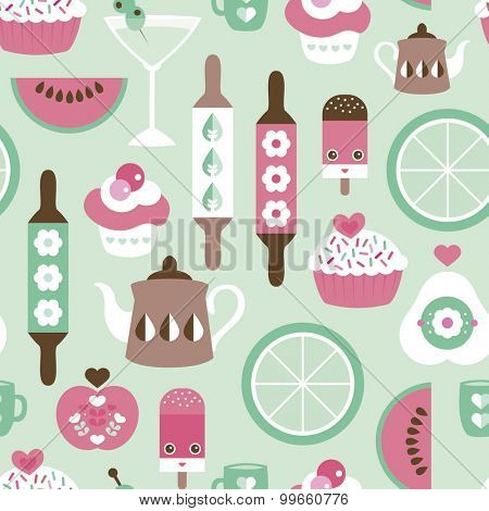 Seamless pastel mint kitchen retro style cooking tea and coffee pot food and fruit illustration background pattern in vector
