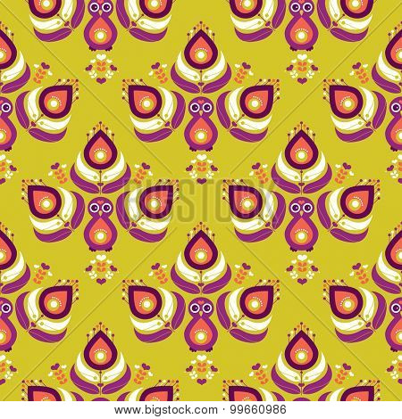 Seamless colorful retro style indian peacock bird feathers in mustard and purple illustration background pattern in vector