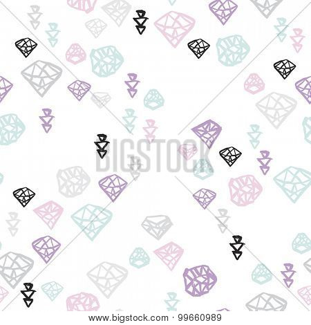 Seamless diamond jewelry illustration hand drawn ornament pastel background pattern in vector