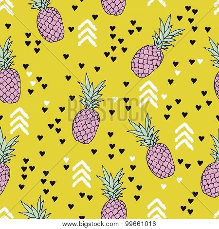 Seamless geometric colorful yellow summer surf theme pineapple illustration sweet hearts background pattern in vector