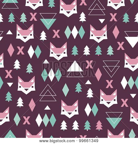 Seamless geometric purple holidays theme fox forest and triangle christmas tree background pink pattern in vector