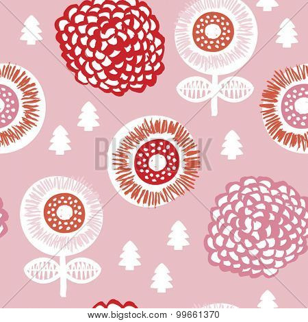 Seamless poppy garden flowers and little christmas tree illustration background pattern in vector