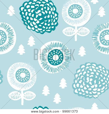 Seamless winter poppy garden flowers and little christmas tree illustration background pattern in vector