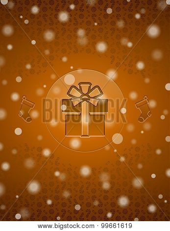 Christmas Snow Background With Gift And Christmas Stocking