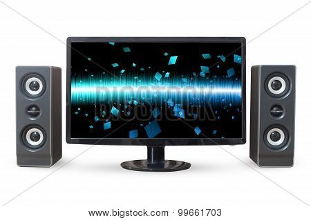 Monitor Pc Landscape And Sound Woofer Isolated On White Background.