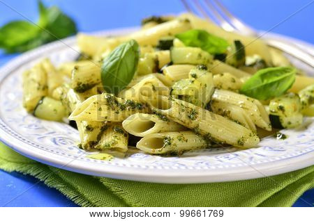 Penne With Zucchini And Basil Pesto.