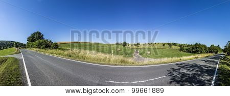 Rural Area With Meadows And Trees