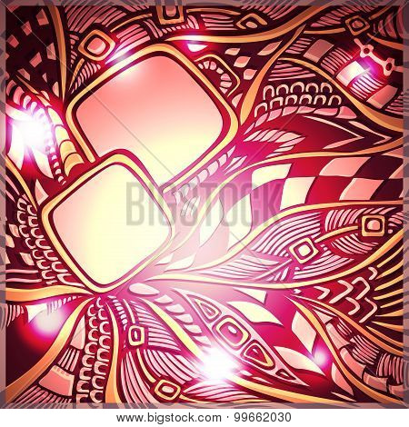 Abstract doodle background with light in gold pink red colors