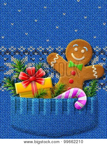 Gingerbread Man, Gift, Candy Cane, Pine Twigs In Knitted Pocket