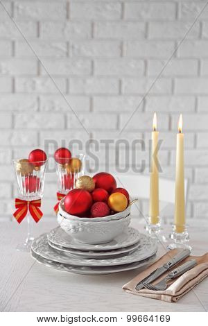 Decorated Christmas table setting. Christmas menu concept