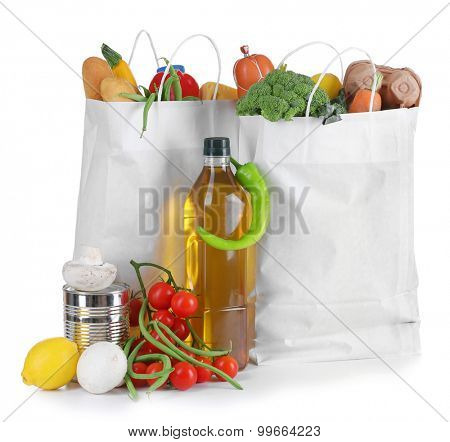 Bags of fresh products isolated on white