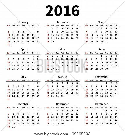 Simple 2016 year calendar on white background
